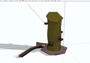 某景区景观塔素材设计SU(草图大师)模型