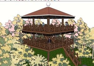 三层详细景观塔素材设计SU(草图大师)模型