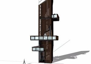 现代经典详细景观塔素材设计SU(草图大师)模型