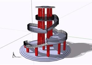 现代风格详细景观塔设计SU(草图大师)模型