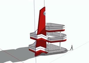 两层景观塔素材设计SU(草图大师)模型
