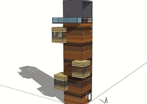 景观塔楼建筑素材SU(草图大师)模型