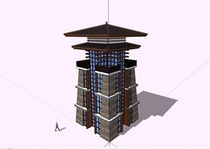 古典中式景观塔素材SU(草图大师)模型