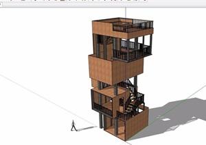 景观塔完整整体设计SU(草图大师)模型