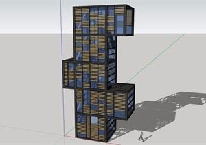 景观塔整体详细设计SU(草图大师)模型