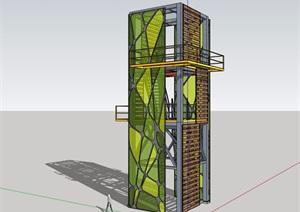 园林景观详细的景观塔素材设计SU(草图大师)模型