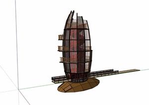 现代园林景观塔素材设计SU(草图大师)模型