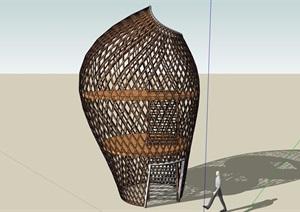 现代独特造型景观塔SU(草图大师)模型