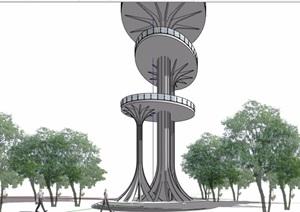 园林详细景观塔素材设计SU(草图大师)模型