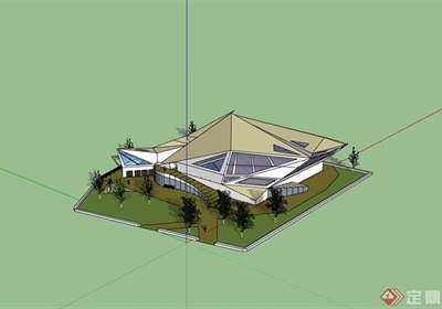 详细的完整展览馆su模型