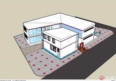 现代风格两层展览馆su模型
