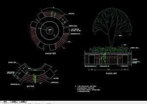 园林景详细树池及座椅设计cad施工图