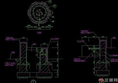 详细的圆形园凳设计cad施工图