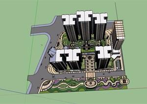商业住宅综合体SU(草图大师)模型