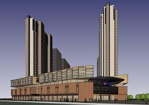 详细的整体完整商业住宅建筑楼SU(草图大师)模型