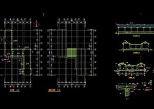 古典中式详细的长廊素材cad施工图