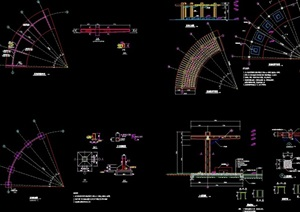 详细的多个景观廊架设计cad施工图