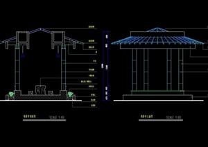 详细的景观亭设计cad立剖面图