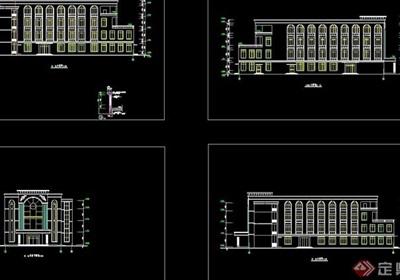 食堂全套多层建筑cad方案图