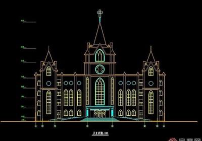 某欧式风格学校建筑cad方案图