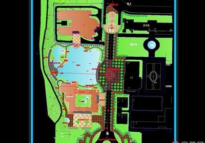 某现代学校景观规划cad方案图