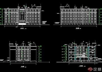 某欧式详细中学综合楼设计cad施工图