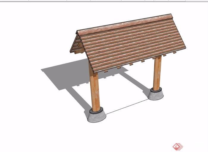 中式详细的院门素材设计su模型