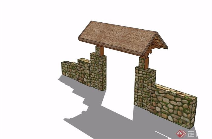中式围墙院门素材设计su模型