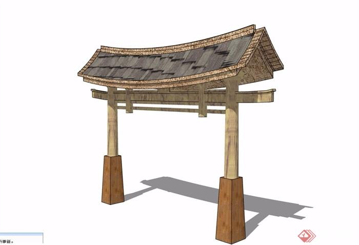 中式详细的完整院门素材设计su模型