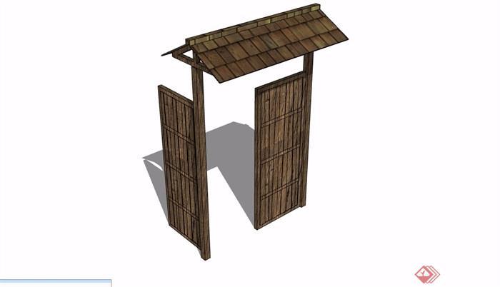 防腐木质院门设计su模型