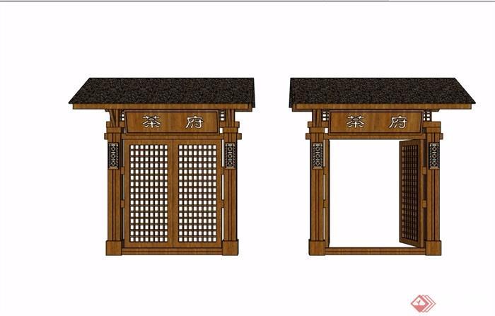 中式详细的木质院门素材设计su模型