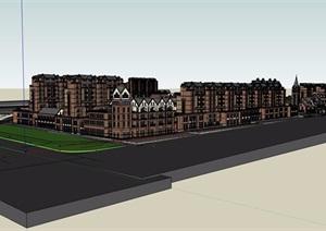 英伦欧式详细的商业居住楼设计SU(草图大师)模型