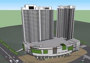 某详细的商业住宅楼设计SU(草图大师)模型