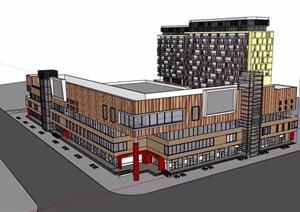 现代风格大型超市及住宅楼设计SU(草图大师)模型