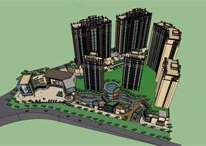 某详细的新古典风格商住小区楼设计SU(草图大师)模型