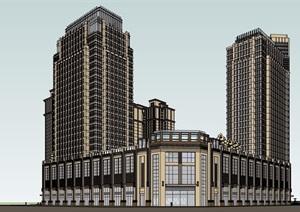 某详细的商业底盘住宅楼设计SU(草图大师)模型