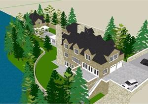 美式详细的经典多层住宅别墅设计SU(草图大师)模型
