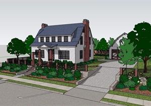 两个详细的完整美式风格别墅设计SU(草图大师)模型