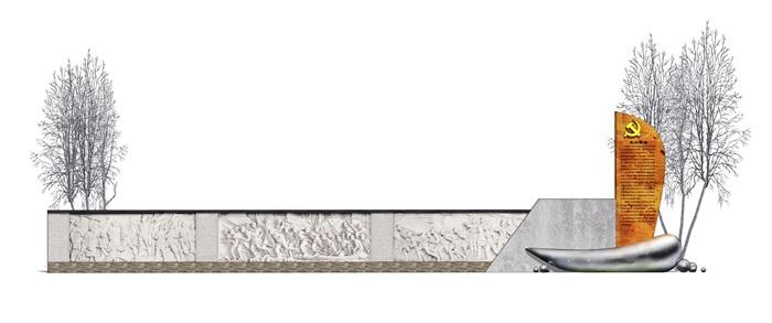 现代 党建革命主题 浮雕景墙SU模型(1)