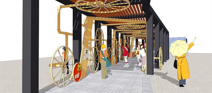 现代 铁艺 廊架 花架 车轮 钢管su模型(3)
