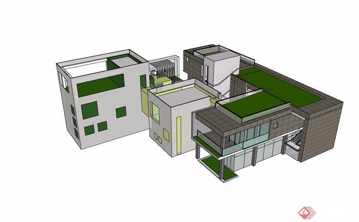 幼儿园详细多层建筑楼设计su模型