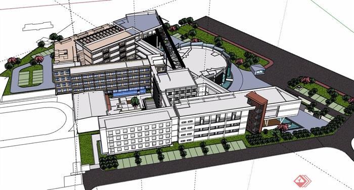 艺术学院教育建筑楼设计su模型