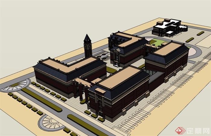 欧式风格多层学校整体设计su模型