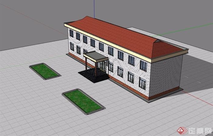 欧式两层小学建筑楼设计su模型