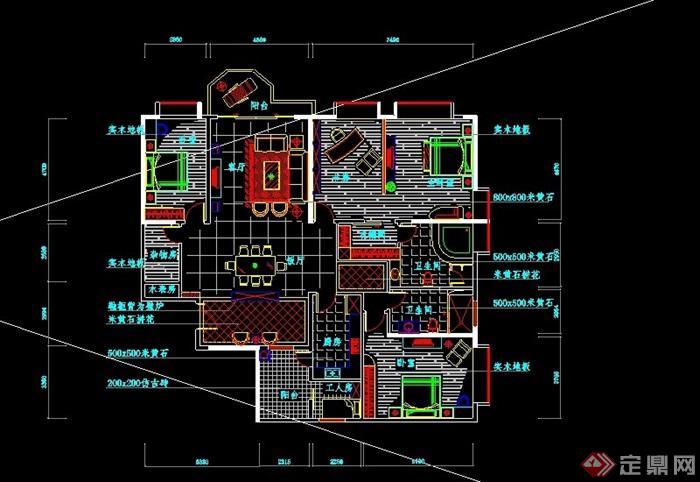 某现代风格住宅建筑设计cad方案