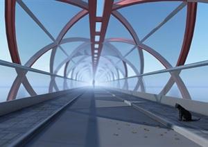 单跨螺旋桥SU(草图大师)模型,酷炫的桥