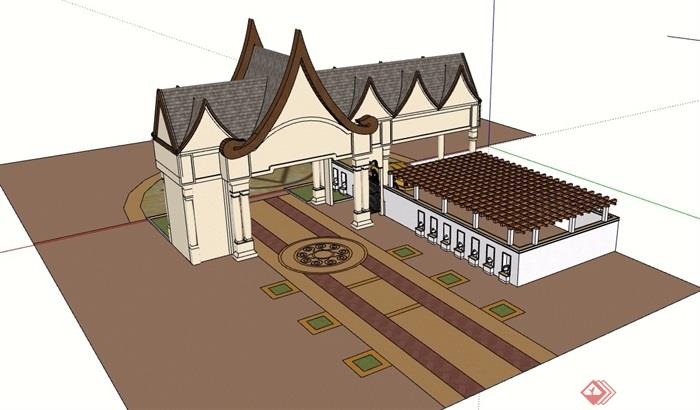东南亚风格详细的完整大门素材设计su模型