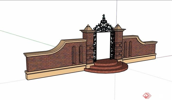 详细的完整欧式风格围墙大门素材su模型