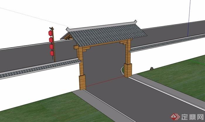 中式详细的完整庭院门素材设计su模型