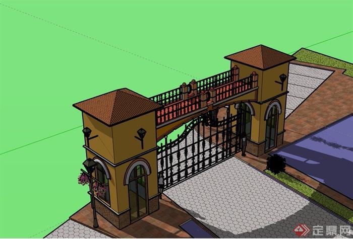 详细的完整欧式风格大门素材设计su模型